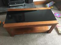 Stunning heavy table glass wood