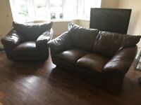 Dark Brown leather 2 seater sofa and chair