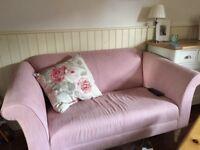 2 seat sofa in pink fabric