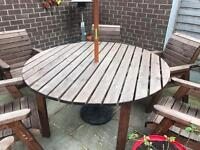 Outside table and six chairs