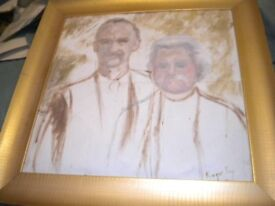 AN OIL OF A MAN AND WOMAN ON CANVAS BY ROGER FRY FRAMED 30X30 INCHES