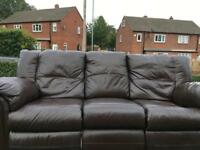 3 seater brown leather sofa recliner