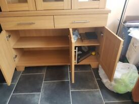 Oak sideboard and display unit