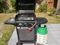 Barbeque Unit, 2 x Gas burner + 1 external gas ring c/w Gas bottle.