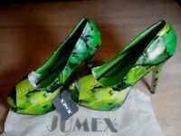 BNIB Jumex & Temptation Ladies green floral high heels size 39