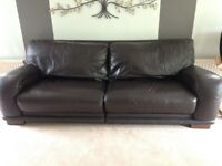 Brown leather sofas 4 +3 seater ,