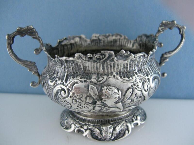 Elaborate 800 Silver miniature Dish / Bowl SIMON ROSENAU Cherubs Angels Fishing