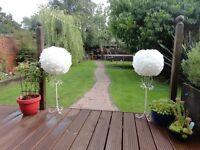 Wedding/party balls - 5 beautiful handmade white paper pompoms