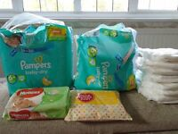 LOTS of Pampers nappies, pull ups, sealed baby wipes, nappy sacks bundle
