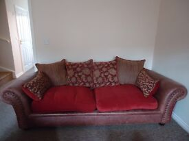 Sofa Good Condition, 3 Seater, Fabric & Leather