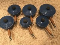 Le Creuset Pans - Blue. Used condition and wooden handles.