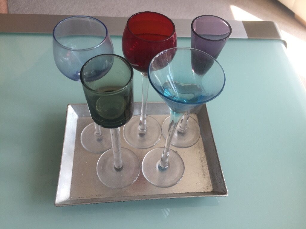 Shot glassesin Norwich, NorfolkGumtree - Long stem shot glasses/ decorative glasses with little silver tray Good condition Originally from John Lewis Collection only from Costessey