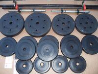 Vinyl weight set 60 kg + bars + dumbbells