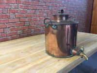 large vintage copper urn with brass tap