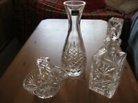 THREE LOVELY CUT GLASS ITEMS, INCLUDING 2 DECANTERS