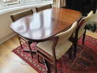 Dyrlund midcentury vintage dining table and chairs