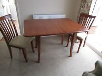 Folding Wood Dinning Table and two chairs