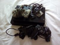 Play station one with 3 controller s 1 gameselling as not used