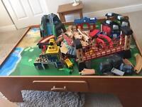 Children's large wooden train set.