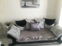 Silver and black crushed velvet sofa 3+2