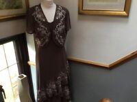Ladies 2pc Dress & Bolero Size 12, Colour Coffee by Jacques Vert