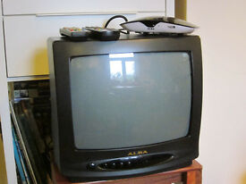 Small crt TV with Freeview box and remotes set up to use