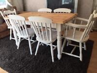 Amazing 4 1/2ft Shabby Chic Pine Farmhouse Table and 6 Lovely Chairs inc 2 Carvers