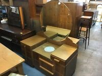 LOVELY 50's WARDROBE AND MATCHING DRESSING TABLE WITH ROUND MIRROR