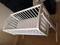 For Sale - Nearly New Mothercare Swinging Crib (White)