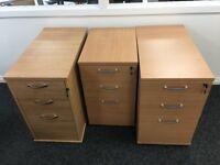 Filing Cabinets New - Desk High Pedestals in Beech or Oak