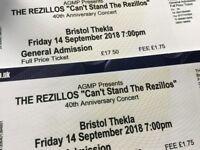2 x REZILLOS TICKETS - THEKLA BRISTOL FRIDAY 14 SEPTEMBER