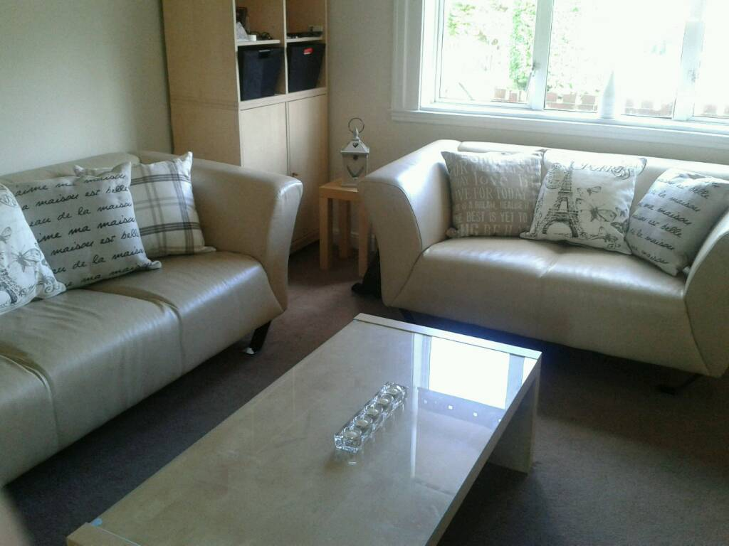 2 Seater And 3 Modern Stone Coloured Leather Sofas