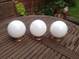 Opaline and Copper Globe Lampshades