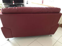 2 Seater Red Leather Sofa FREE FREE FREE