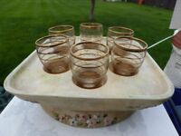antique sherry glasses + base LOVELY iTEM Only £10