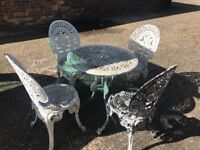 Victorian style garden table and chairs