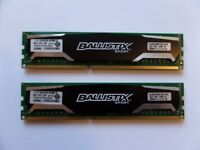 MATCHING PAIR Crucial Ballistix Sport 2 X 4GB DDR3 PC3-12800 1600MHz UDIMM BLS4G3D1609DS1S00.16FER2
