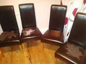 4 x leather dining chairs needing re-upholstery