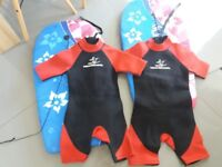 Kids wet suits and body boards