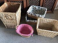 Wicker laundry basket and various baskets