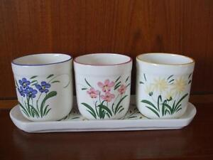3 Eartenware Pots on Tray