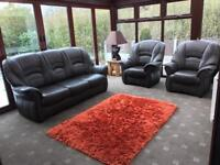 Immaculate brown leather 3 Seater sofa + 2 armchairs