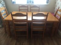 6 Seater Pine Table and Chairs ideal for reburbishment
