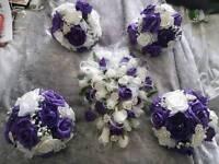 Cadbury purple & white wedding day flowers
