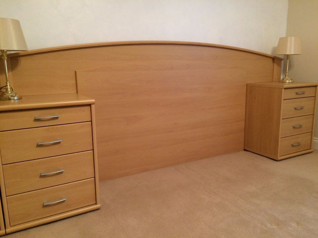 Nolte Mobel Bedroom Furniture Headboard Two Bedside Tables Two Chests Of Drawers Beech Effect