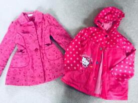 2x hello kitty coats raincoat winter warm jacket 7-8