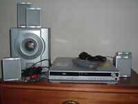 DVD HOME THEATRE SYSTEM DOLBY PRO LOGIC SUBWOOFER 5 SPEAKERS