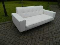 1970's Style White Leather Sofa