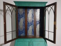 Vintage 7ft BUREAU desk bookcase DISPLAY cabinet. PEACOCK GREEN shabby chic FREE safe LOCAL Delivery