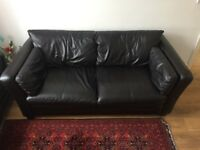 John Lewis Genuine Leather 3 Seater Sofa - Dark Brown